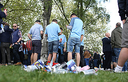 23 April 2017 FA Cup semi-final : Arsenal v Manchester City :<br /> City supporters drinking beer in a park close to Wembley.<br /> Photo: Mark Leech