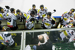 26.10.2013, Hala Tivoli, Ljubljana, SLO, EBEL, HDD Telemach Olimpija Ljubljana vs EC Dornbirn, 28th Game Day, in picture players of Dornbirn listening to the coach Dave MacQueen at time-out during the Erste Bank Icehockey League 28th Game Day match between HDD Telemach Olimpija Ljubljana and EC Dornbirn at the Hala Tivoli, Ljubljana, Slovenia on 2013/10/26. (Photo by Vid Ponikvar / Sportida)