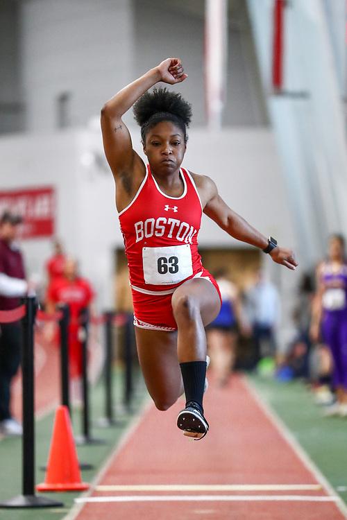 womens triple jump, BU, Lovie Burleson<br /> Boston University Scarlet and White<br /> Indoor Track & Field, Bruce LeHane