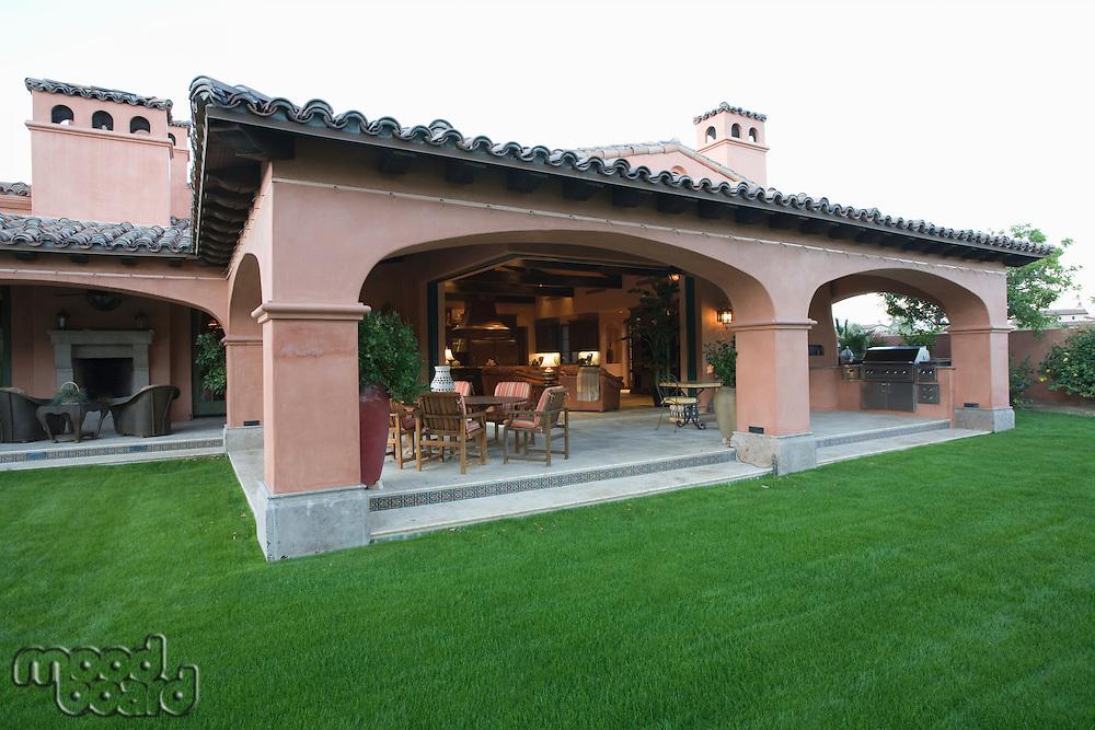 Outdoor veranda room of Palm Springs hacienda