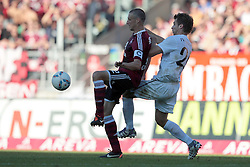 01.10.2011, easy Credit Stadion, Nuernberg, GER, 1.FBL, 1. FC Nürnberg / Nuernberg vs 1. FSV Mainz, im Bild:.Timmy Simons (Nuernberg #2) gg Andreas Ivanschitz (Mainz #25).// during the Match GER, 1.FBL, 1. FC Nürnberg / Nuernberg vs 1. FSV Mainz on 2011/10/01, easy Credit Stadion, Nuernberg, Germany..EXPA Pictures © 2011, PhotoCredit: EXPA/ nph/  Will       ****** out of GER / CRO  / BEL ******