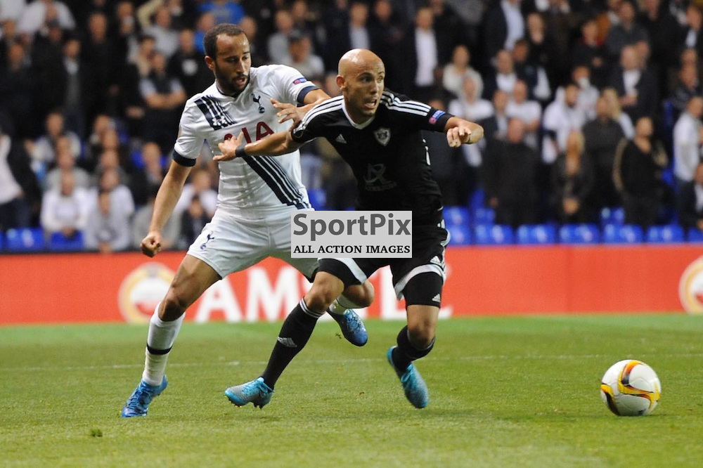 Tottenhams Andros Townsend and Qarabags Richard Almeida in action during the Tottenham v Qarabag match in the Europa League group stage