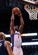 Mar. 19 2010; Phoenix, AZ, USA; Phoenix Suns forward Amare Stoudemire (1) dunks the ball in the first half at the US Airways Center.  The Suns defeated the Jazz 110-100. Mandatory Credit: Jennifer Stewart-US PRESSWIRE.