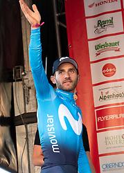 07.07.2019, Wels, AUT, Ö-Tour, Österreich Radrundfahrt, Siegerehrung der 1. Etappe, von Grieskirchen nach Freistadt (138,8 km), im Bild Carlos Barbero (ESP, Movistar Team), Etappensieger // Carlos Barbero of Spain (Movistar Team) stage winner during the winner ceremony of the 1st stage from Grieskirchen to Freistadt (138,8 km) of the 2019 Tour of Austria. Wels, Austria on 2019/07/07. EXPA Pictures © 2019, PhotoCredit: EXPA/ Reinhard Eisenbauer