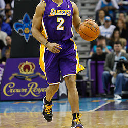 February 5, 2011; New Orleans, LA, USA; Los Angeles Lakers point guard Derek Fisher (2) against the New Orleans Hornets during the second quarter at the New Orleans Arena.   Mandatory Credit: Derick E. Hingle