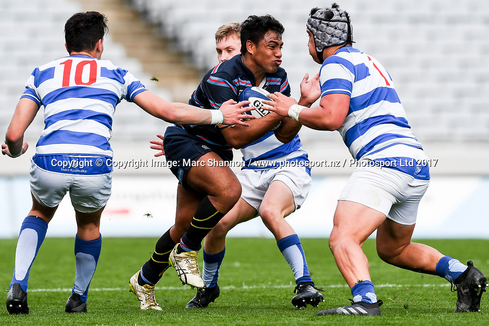 Sacred Heart captain Lemeki Namoa in action during a match against St Kentigern.<br /> St Kentigern College v Sacred Heart College, Auckland Secondary Schools First XV rugby union, Eden Park, Auckland, New Zealand. 26 August 2017. &copy; Copyright Image: Marc Shannon / www.photosport.nz.