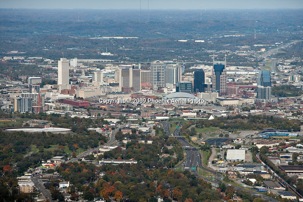 Aerial photo of the Downtown Nashville Skyline.