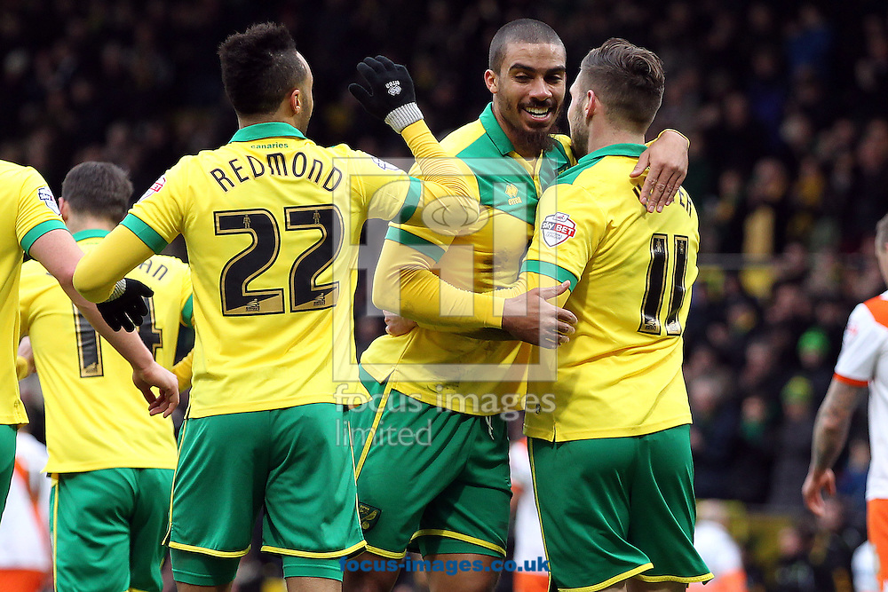 Gary Hooper of Norwich celebrates scoring his sides 1st goal during the Sky Bet Championship match at Carrow Road, Norwich<br /> Picture by Paul Chesterton/Focus Images Ltd +44 7904 640267<br /> 07/02/2015
