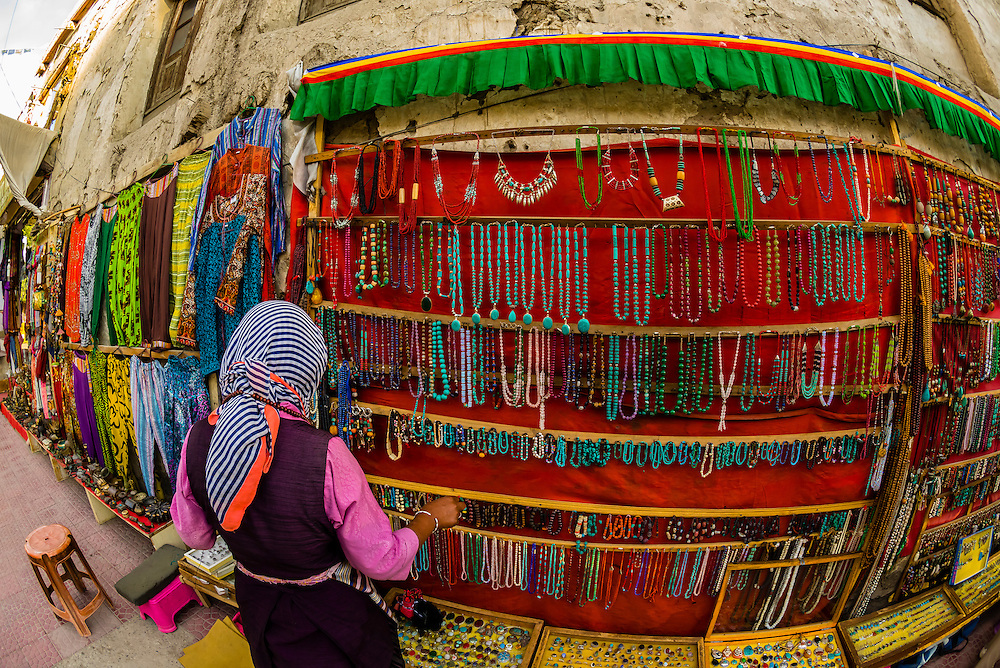 Jewelry on display at a street market, Old Leh, Ladakh, Jammu and Kashmir State, India.