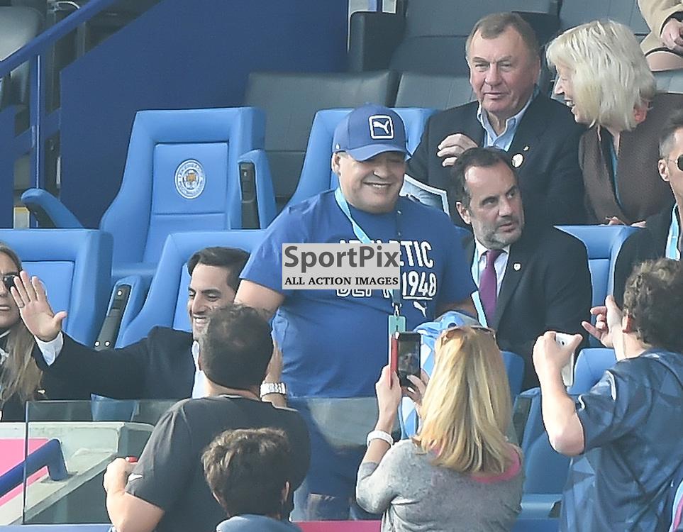 Diego Maradona, surprise guest at the Leicester City Stadium today,(c) Simon Kimber | SportPix.org.uk