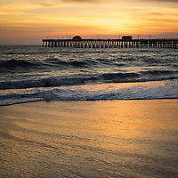 San Clemente pier sunset high resolution photo. San Clemente is a popular beach city  in Orange County Southern California in the Western USA. Copyright ⓒ 2017 Paul Velgos with All Rights Reserved.