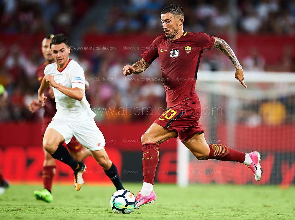SEVILLE, SPAIN - AUGUST 10:  Aleksandar Kolarov of AS Roma in action during a Pre Season Friendly match between Sevilla FC and AS Roma at Estadio Ramon Sanchez Pizjuan on August 10, 2017 in Seville, Spain. (Photo by Aitor Alcalde/Getty Images)