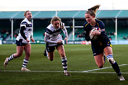 Carys Cox of Worcester Warriors Women runs in to score a try - Mandatory by-line: Robbie Stephenson/JMP - 01/12/2019 - RUGBY - Sixways Stadium - Worcester, England - Worcester Warriors Women v Bristol Bears Women - Tyrrells Premier 15s