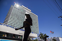 November 23, 2016 - Havana, Cuba - A girl walking in front of Habana Libre hotel in Havana, Cuba, on 23 November 2016. (Credit Image: © Alvaro Fuente/NurPhoto via ZUMA Press)