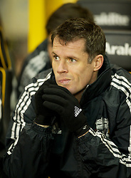 WOLVERHAMPTON, ENGLAND - Tuesday, January 31, 2012: Liverpool's Jamie Carragher before the Premiership match against Wolverhampton Wanderers at Molineux. (Pic by David Rawcliffe/Propaganda)
