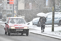 © Licensed to London News Pictures. 27/02/2020. Stokenchurch, UK. Heavy snowfall is seen in Stokenchurch, Buckinghamshire, England, as the south east is hit by snow for the first time in 2020. Large parts of the UK are experiencing heavy flooding with flood barriers being breached in worst hit areas. Photo credit: Ben Cawthra/LNP