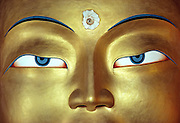 "A close-up of the eyes of the Golden Buddha at Thikse Gompa, in Ladakh, India, turns a specific subject into a universal representation of Buddhism. In this case, ""less is more."""