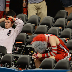 Mar 31, 2012; New Orleans, LA, USA; Ohio State Buckeyes fans react after losing to the Kansas Jayhawks 64-62 in the semifinals of the 2012 NCAA men's basketball Final Four at the Mercedes-Benz Superdome. Mandatory Credit: Derick E. Hingle-US PRESSWIRE