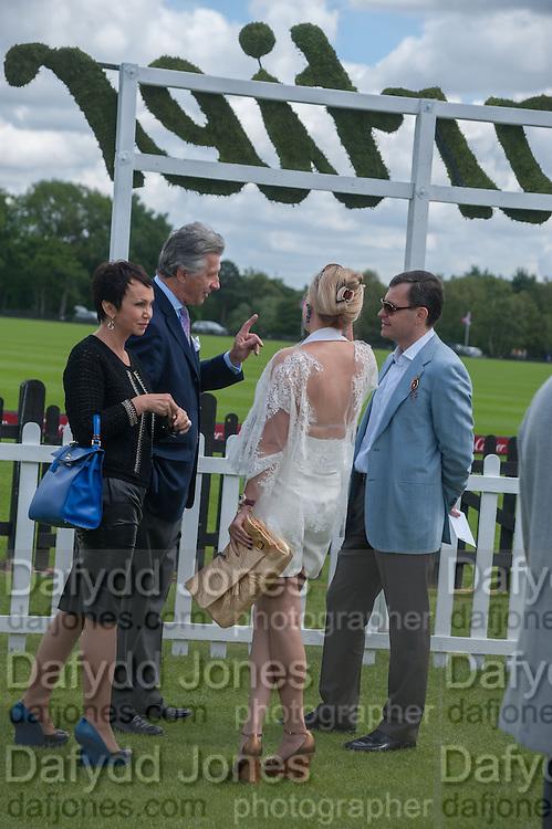 LUDMILLA STIEWE; ARNAUD BAMBERGER; ALEXANDRA MAUERGRUZ; ALEXEI MAUERGRUZ;, Cartier Queen's Cup. Guards Polo Club, Windsor Great Park. 17 June 2012