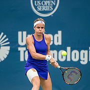 August 21, 2016, New Haven, Connecticut: <br /> Nicole Gibbs of the United States in action during Day 3 of the 2016 Connecticut Open at the Yale University Tennis Center on Sunday, August  21, 2016 in New Haven, Connecticut. <br /> (Photo by Billie Weiss/Connecticut Open)