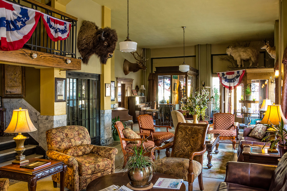 Lobby of the historic Murray Hotel in Livingston, Montana.