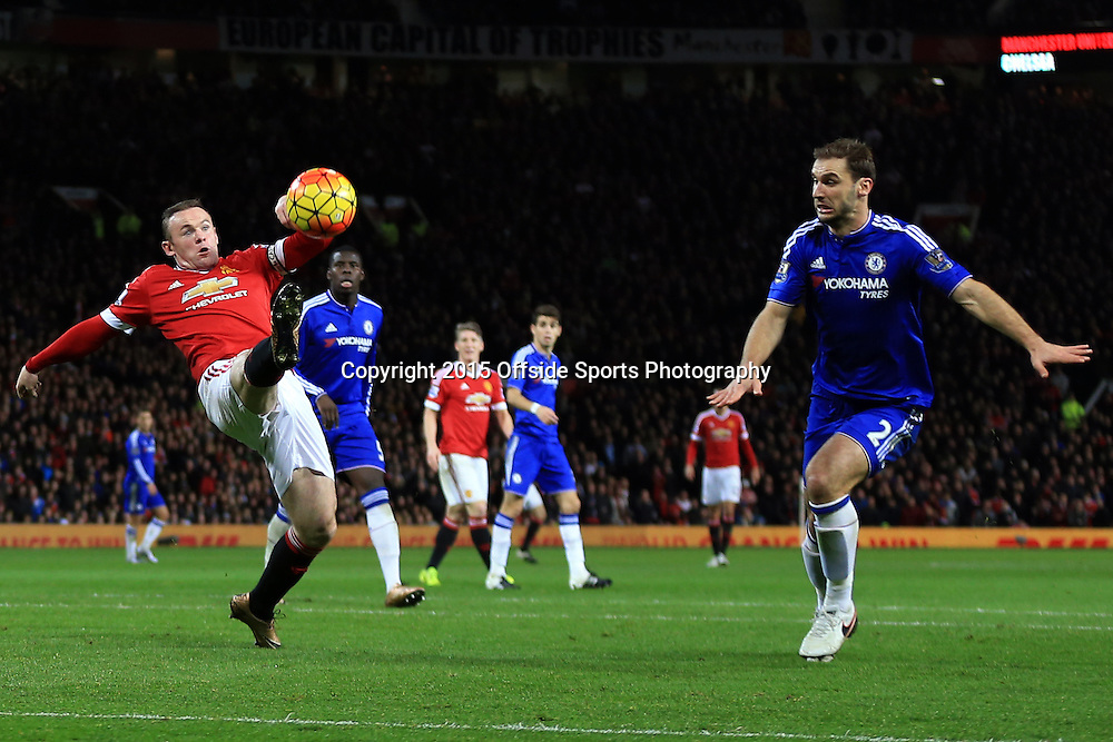 16 December 2015 - Barclays Premier League - Manchester United v Chelsea - Wayne Rooney of Manchester United in action with Branislav Ivanovic of Chelsea - Photo: Marc Atkins / Offside.