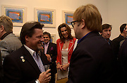 Anne Marie  Sten, Joseph Gale Pacetti-de Medici, and Sir Elton John Private view of 40 limited edition prints especially created by Howard Hodgkin for Elton John AIDS Foundation, Alan Christea Gallery, 6 February 2003. All proceeds from the evening benefit Elton John AIDS Foundation.© Copyright Photograph by Dafydd Jones 66 Stockwell Park Rd. London SW9 0DA Tel 020 7733 0108 www.dafjones.com