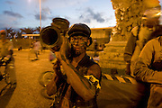 As soldiers costumed people. Carnival. Mindelo. Cabo Verde. Africa.