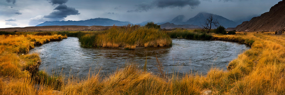 Panorama of Storm clouds over the Owens River, Eastern Sierra, California