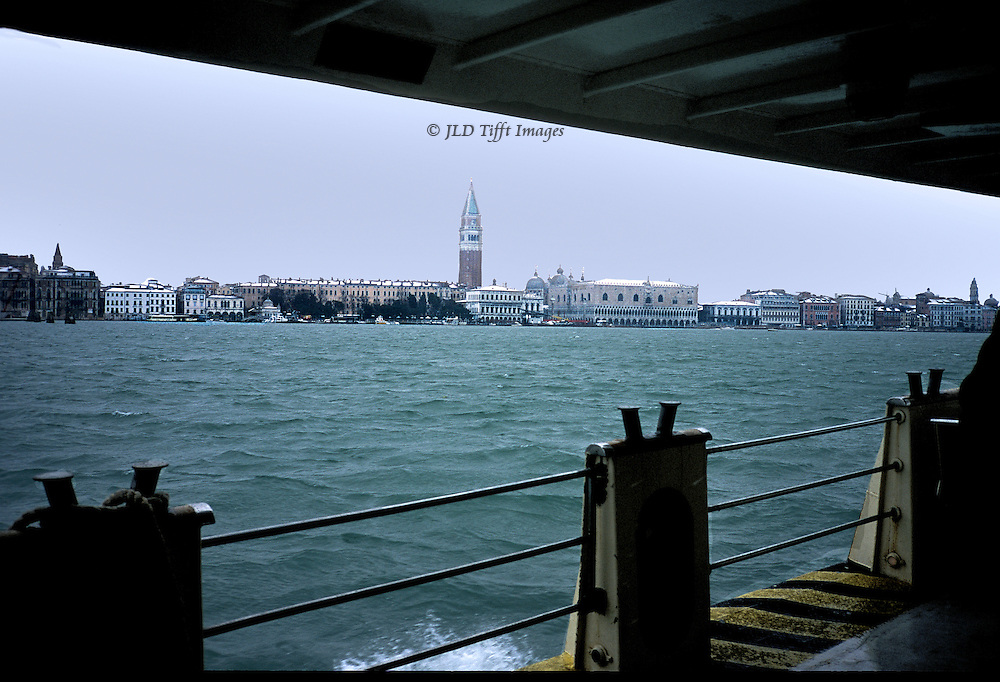 Piazza San Marco with Campanile, Marciana Library, Riva Schiavoni, from the vaporetto on its way back from Lido..