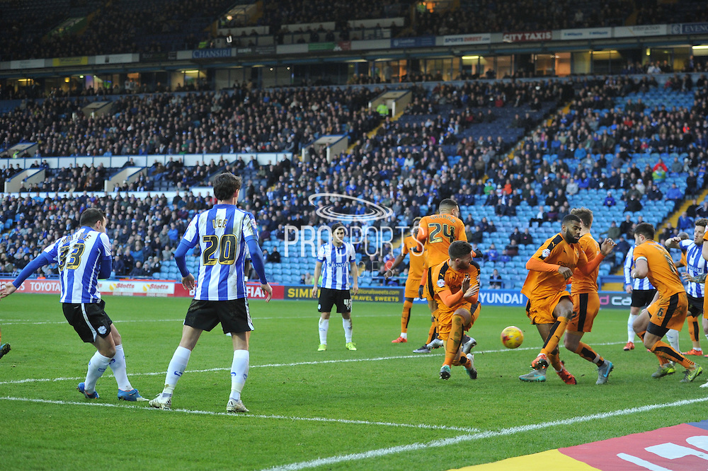 wolves defend the goal against free kick during the Sky Bet Championship match between Sheffield Wednesday and Wolverhampton Wanderers at Hillsborough, Sheffield, England on 20 December 2015. Photo by Ian Lyall.