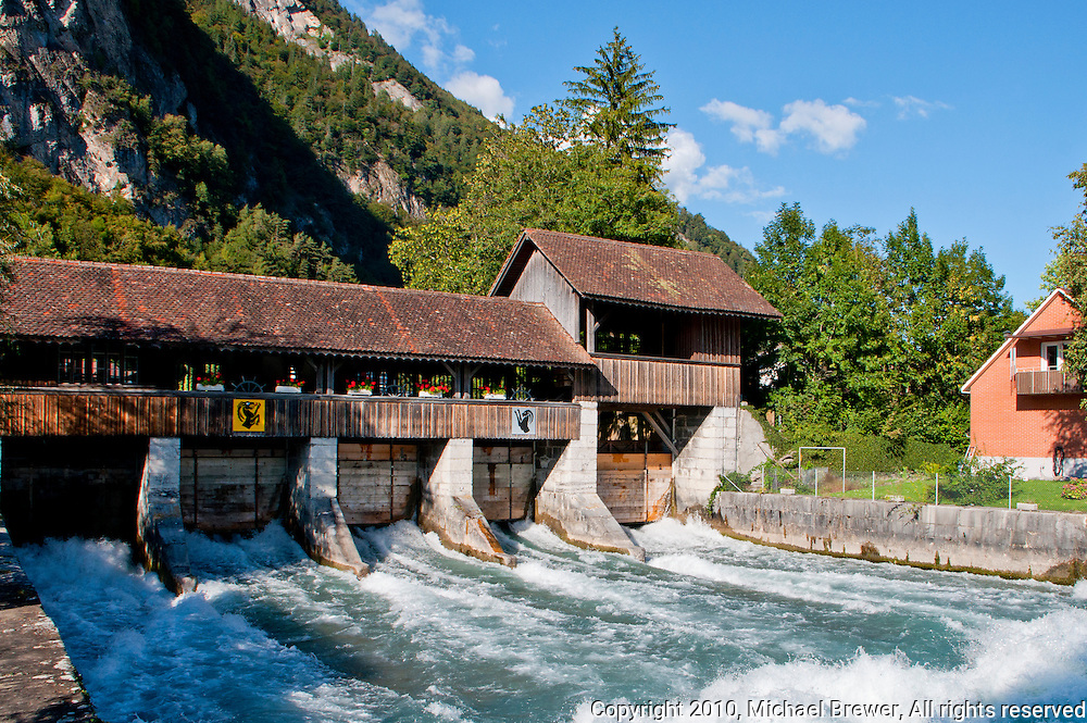 Picturesque, old wooden hydro power plant in Interlaken, Switzerland.