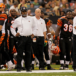 2009 August 14: Cincinnati Bengals head coach Marvin Lewis on the field during a preseason opener between the Cincinnati Bengals and the New Orleans Saints at the Louisiana Superdome in New Orleans, Louisiana.