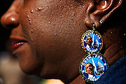 A Pres. Barack Obama supporter wears custom-made earrings during the 2012 Democratic National Convention on Thursday, September 6, 2012 in Charlotte, NC.