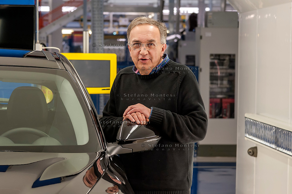 CASSINO, ITALY - NOVEMBER 24: , Sergio Marchionne, chief executive officer of Fiat Chrysler Automobiles NV with the new Stelvio, during the visit to the factory Alfa Romeo in Piedimonte San Germano on November 24, 2016 in Cassino, Italy.