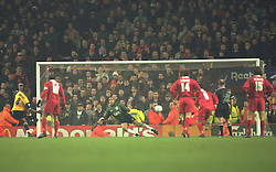 Liverpool, England - Wednesday, November 27th, 1996: Liverpool's goalkeeper David James is beaten by Arsenal's Ian Wright from the penalty spot during the 4-2 victory over Arsenal during the 4th Round of the League Cup at Anfield. (Pic by David Rawcliffe/Propaganda)