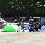 People soak up the hot weather in Green park, London, UK August 4 2018.