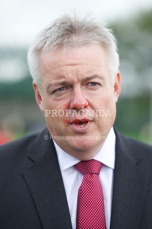 NEWPORT, WALES - Wednesday, July 4, 2012: First Minister Carwyn Jones is interviewed as the Football Association of Wales open the first 3G pitch at the National Development Centre at the Newport International Sports Village. (Pic by David Rawcliffe/Propaganda)