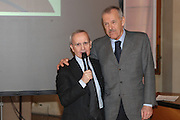 """BOLOGNA, 22/02/2009<br /> FEDERAZIONE ITALIANA PALLACANESTRO PREMIO <br /> PREMIO """"ITALIA BASKET HALL OF FAME""""<br /> NELLA FOTO  DAN PETERSON ALDO OSSOLA"""