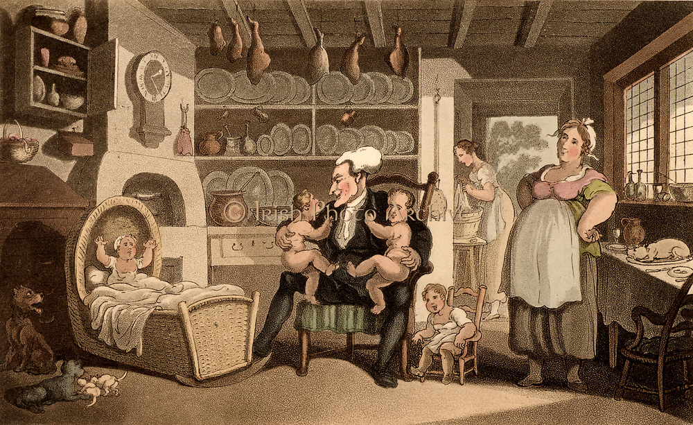 Doctor Syntax Turned Nurse. Typical farmhouse kitchen-living room. The maid is doing the washing in the scullery through the doorway  One child is in a basketwork cradle and another in a miniature chair.  Doctor Syntax is holding what appear to be twins. Smoked hams hang from the ceiling and pewter plates stand on the shelves of the kitchen dresser.   Thomas Rowlandson illustration for 'The Tours of Dr Syntax' by William Combe (London, 1820). Aquatint.