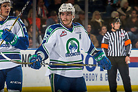 KELOWNA, BC - OCTOBER 23:  Tanner Nagel #25 of the Swift Current Broncos stands on the ice awaiting the face-off against the Kelowna Rockets  at Prospera Place on October 23, 2018 in Kelowna, Canada. (Photo by Marissa Baecker/Getty Images) ***Local Caption***