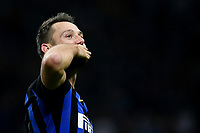 Stefan De Vrij of Internazionale celebrates the victory at the end of the Serie A 2018/2019 football match between Fc Internazionale and AC Milan at Giuseppe Meazza stadium Allianz Stadium, Milano, October, 21, 2018 <br />  Foto Andrea Staccioli / Insidefoto