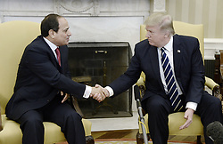 April 3, 2017 - Washington, District of Columbia, United States of America - United States President Donald Trump meets with President Abdel Fattah Al Sisi of Egypt in the Oval Office of White House in Washington, DC, April 3, 2017..Credit: Olivier Douliery / Pool via CNP (Credit Image: © Olivier Douliery/CNP via ZUMA Wire)