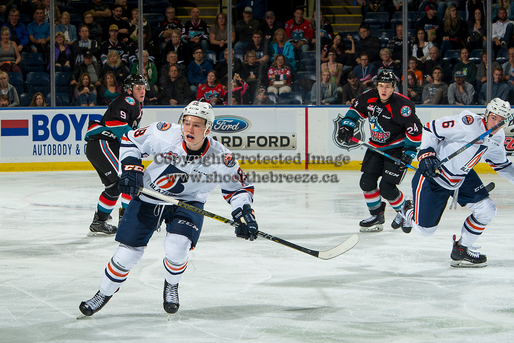 KELOWNA, CANADA - SEPTEMBER 22:  Connor Zary #18 of the Kamloops Blazers skates against the Kelowna Rockets on September 22, 2018 at Prospera Place in Kelowna, British Columbia, Canada.  (Photo by Marissa Baecker/Shoot the Breeze)  *** Local Caption ***
