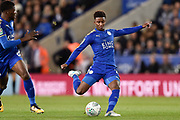 Leicester City midfielder Demarai Gray (7) takes a shot at goal during the EFL Cup match between Leicester City and Leeds United at the King Power Stadium, Leicester, England on 24 October 2017. Photo by Jon Hobley.