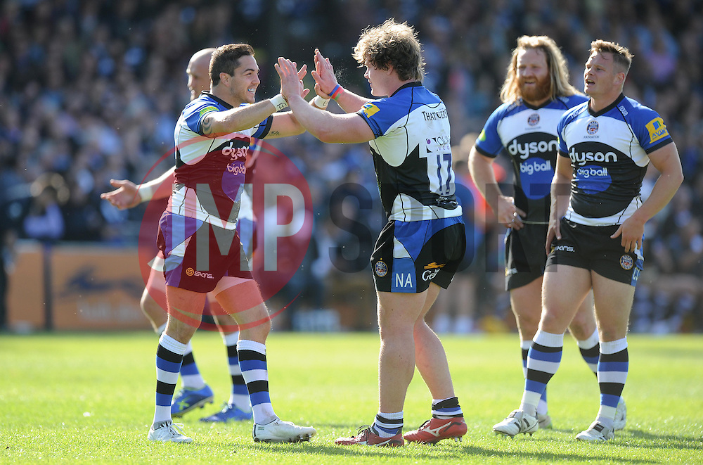 Bath replacement Horacio Agulla celebrates with Bath replacement Nick Auterac - Photo mandatory by-line: Alex James/JMP - Mobile: 07966 386802 - 16/05/2015 - SPORT - Football - Bath - The Recreation Ground - Bath v Gloucester - Aviva Premiership