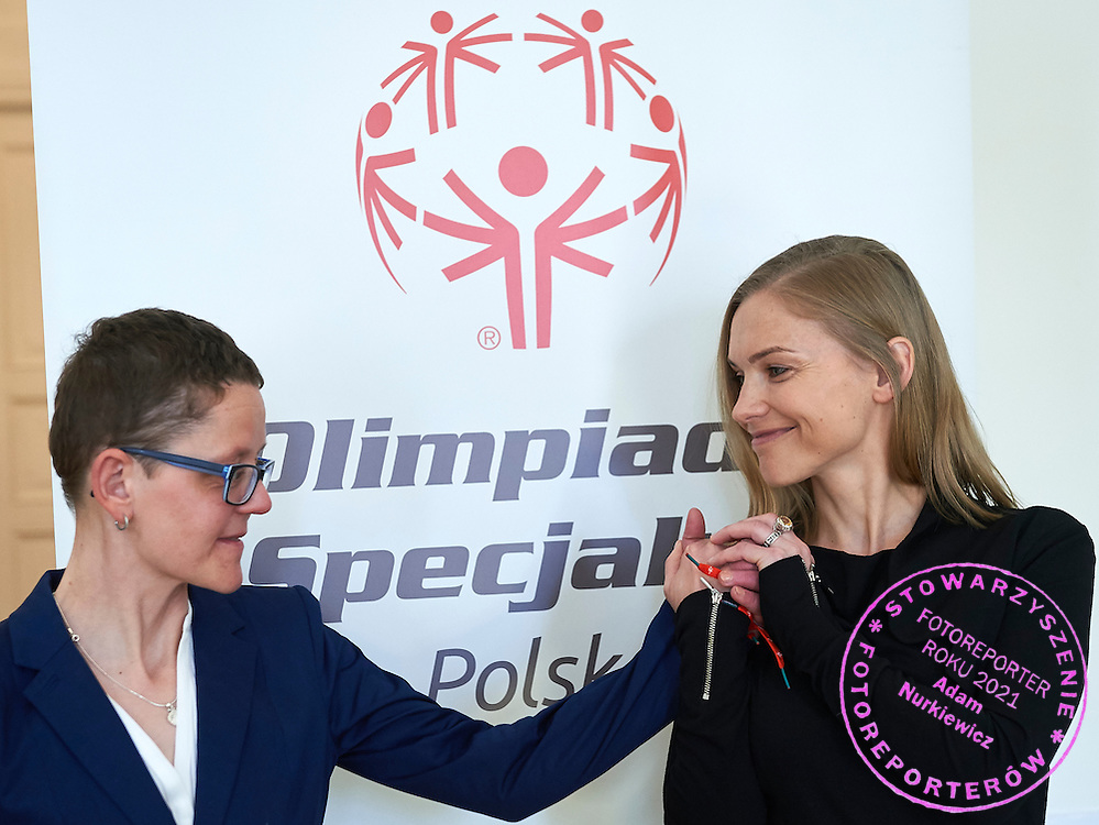 Kinga Baranowska - Polish mountaineer and Special Olympics Ambassador poses to photo with disability athlete during 30 years anniversary of The Special Olympics Poland at Presidential Palace in Warsaw on March 18, 2015.<br /> <br /> Poland, Warsaw, March 18, 2015<br /> <br /> For editorial use only. Any commercial or promotional use requires permission.<br /> <br /> Mandatory credit:<br /> Photo by &copy; Adam Nurkiewicz / Mediasport