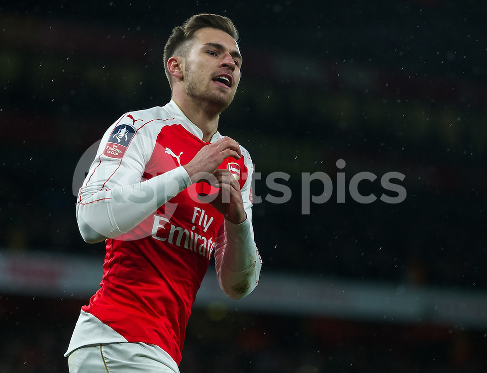 Aaron Ramsey of Arsenal celebrates scoring his teams second goal during the The FA Cup Third Round match between Arsenal and Sunderland at the Emirates Stadium, London, England on 9 January 2016. Photo by Vince  Mignott.