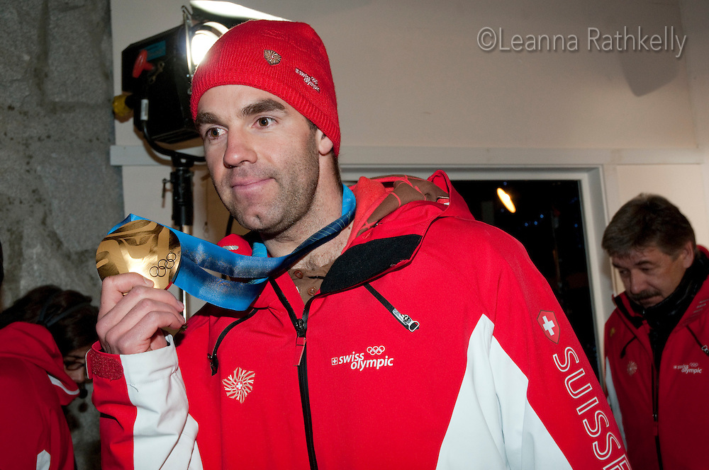 Gold Medal winner Didier Defago celebrates his win at the House of Switzerland in Whistler during the 2010 Olympic Winter games in Whistler, BC Canada.