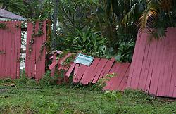 September 10, 2017 - Wellington, Florida, U.S. - A fence blown over near Briarwood Mobile Home Park in Greenacres, Florida on September 10, 2017. (Credit Image: © Allen Eyestone/The Palm Beach Post via ZUMA Wire)